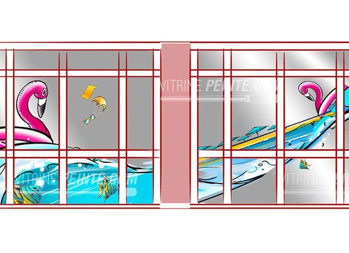 scenographie deco vitrine été ambance plage dessin bouée flamant rose