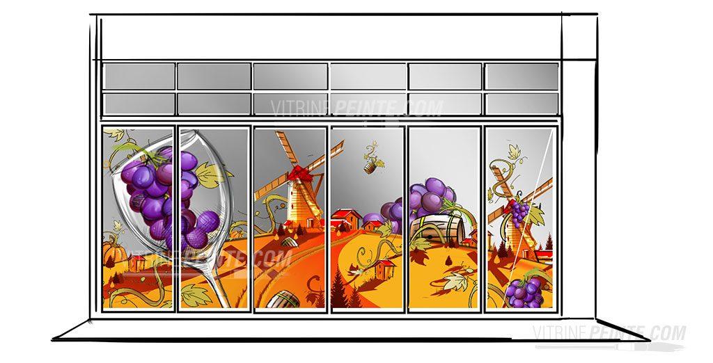 automne-deco-magasin-route.des.vins.idee-deco.peinture.vitrine.decoration.saison.automne.halloween.centre.commercial.gss