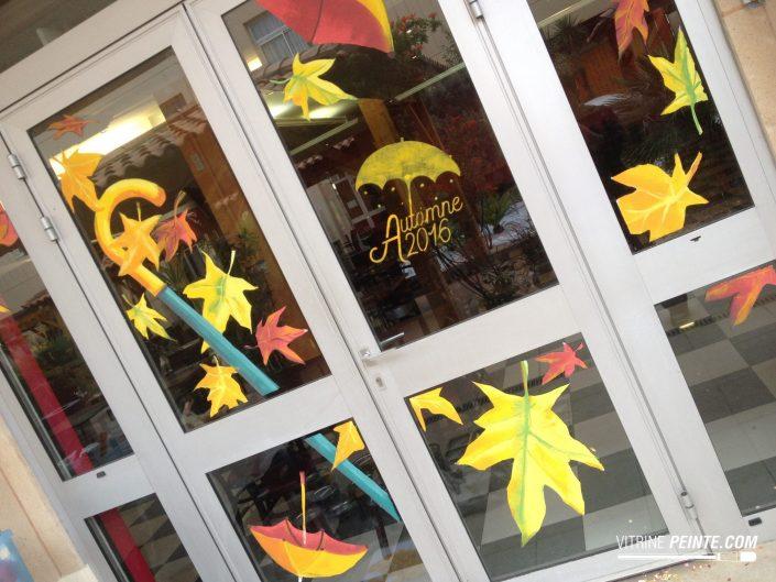decoration vitre automne