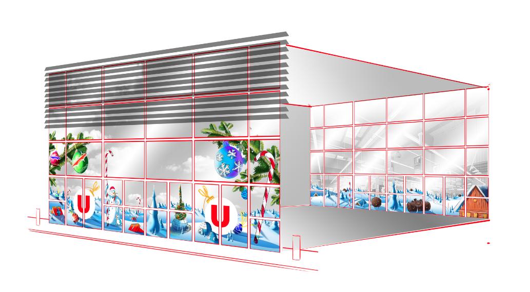 scenographie decoration noel centre commercial vitrine