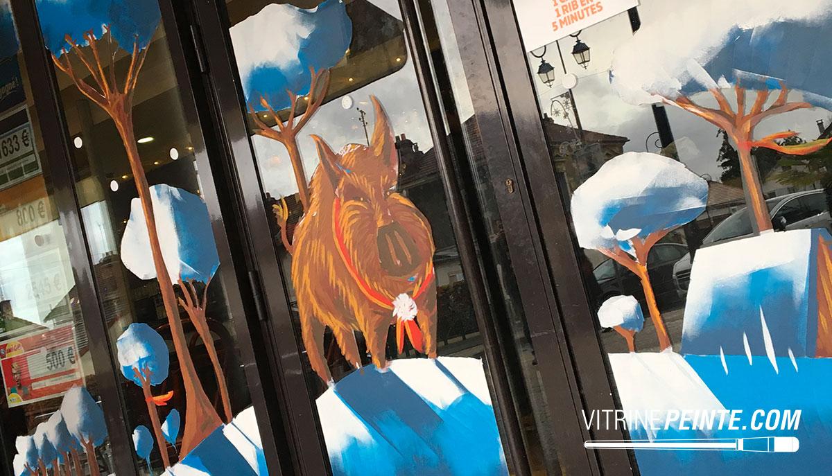 Vitrine NOEL / Peinture vitrine / Décoration Magasin