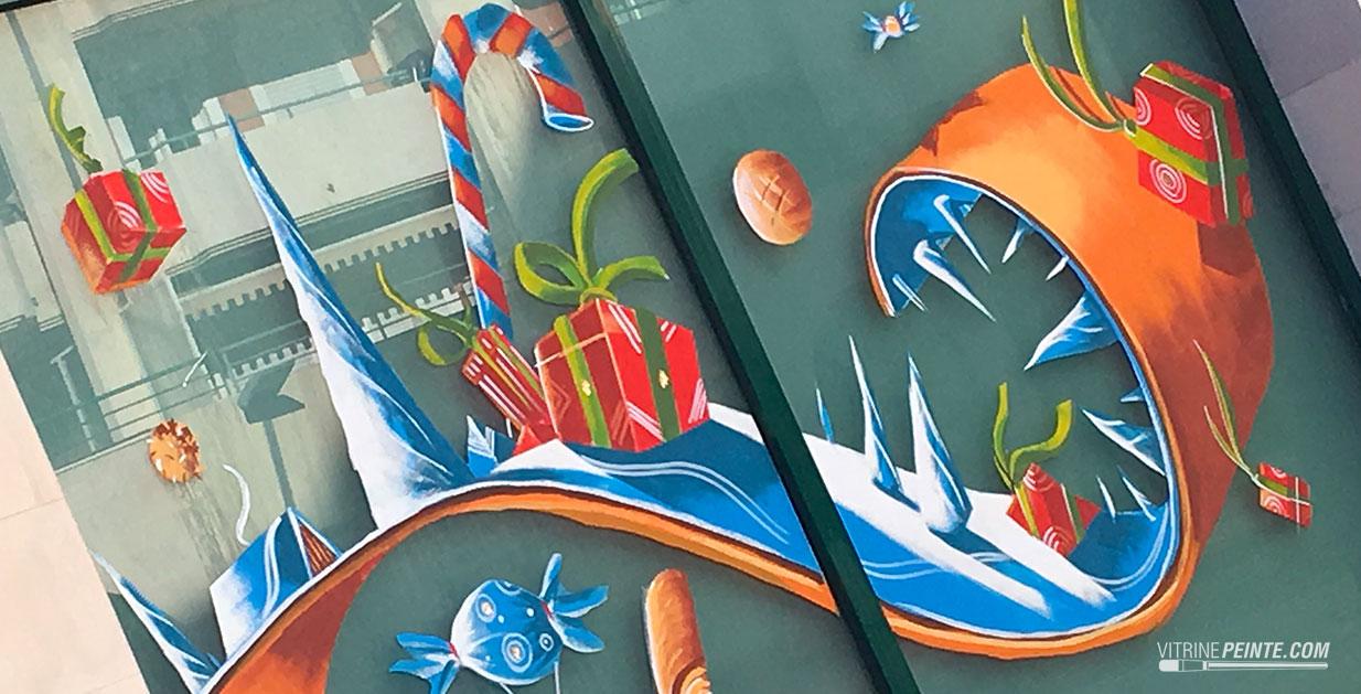 decoration tendance vitrine boulangerie noel