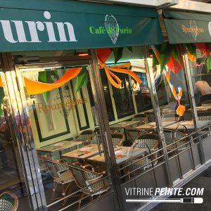 Vitrine NOEL // Décoration vitre restaurant - café de turin / NICE