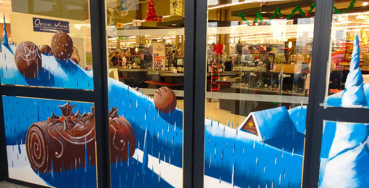 Vitrine peinture & Décoration de Noël pour Centre commerciale
