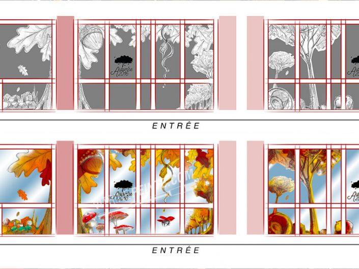 decoration vitrine automne champignon