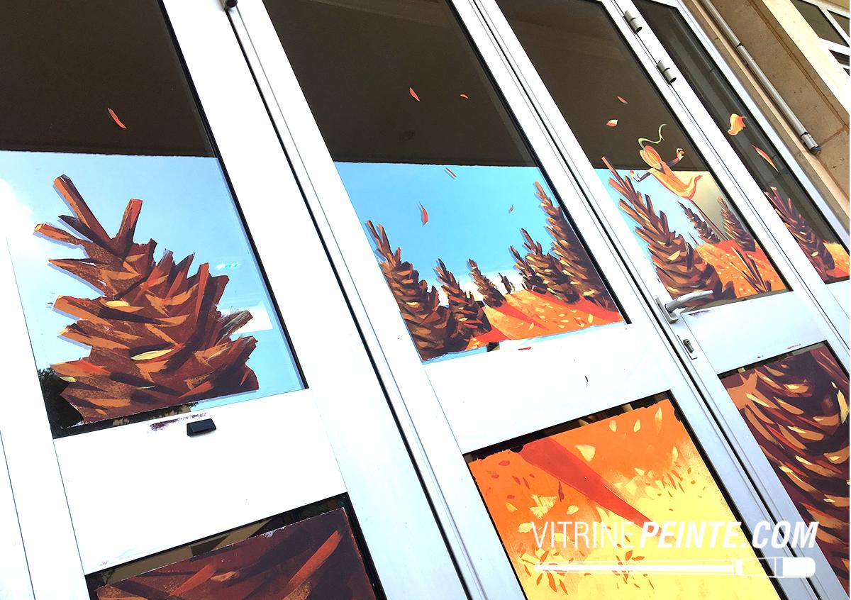 decoration vitrine magasin automne
