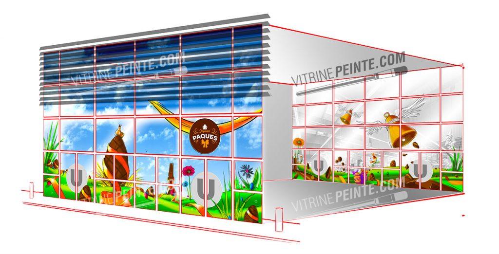 deco Printemps / Vitrine de Paques // Décoration centre commercial hypermarché / HYPER-U