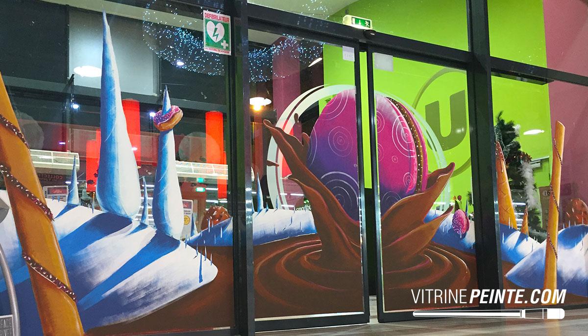 NOEL / Vitrine traditionelle // Décoration centre commercial hypermarché / HYPER-U