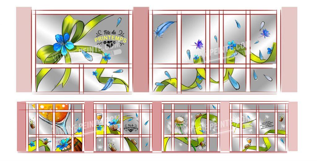 Deco Printemps / Vitrine de fleuriste, muguet // Décoration centre commercial hypermarché / restaurant