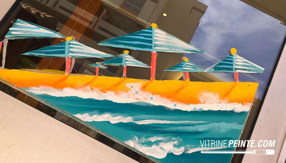 Vitrine ÉTÉ deco plage ocean parasol