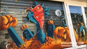 idée décoration peinture vitrine halloween pizzaria restaurant