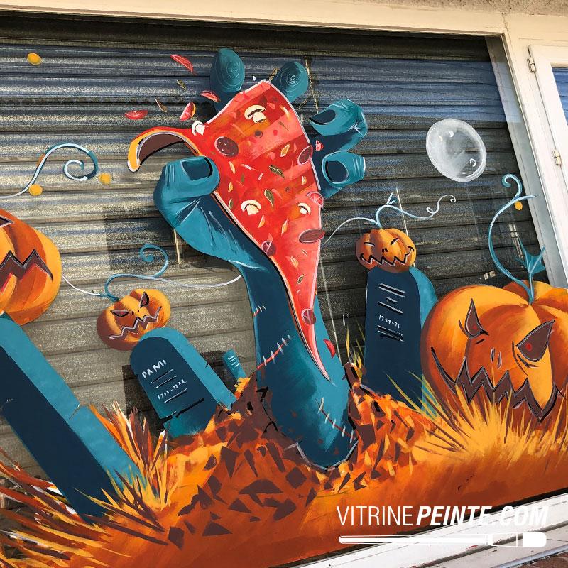 idée décoration mortel tendance peinture vitrine halloween deco vitrine pizzaria