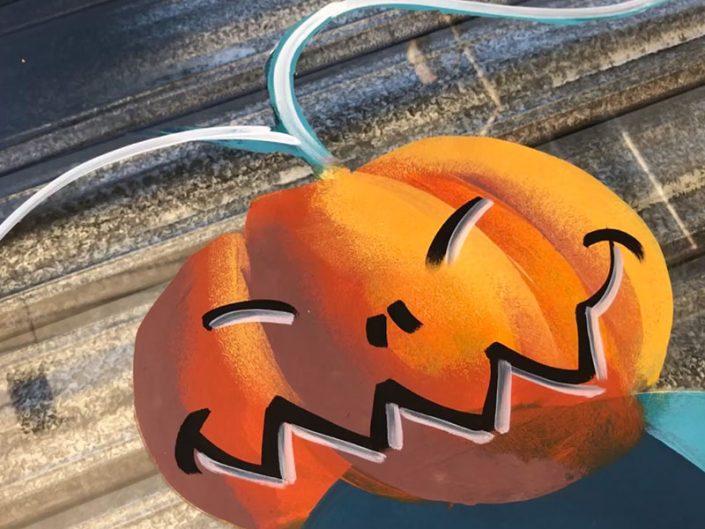 idée décoration citrouille halloween peinture deco vitrine pizzaria