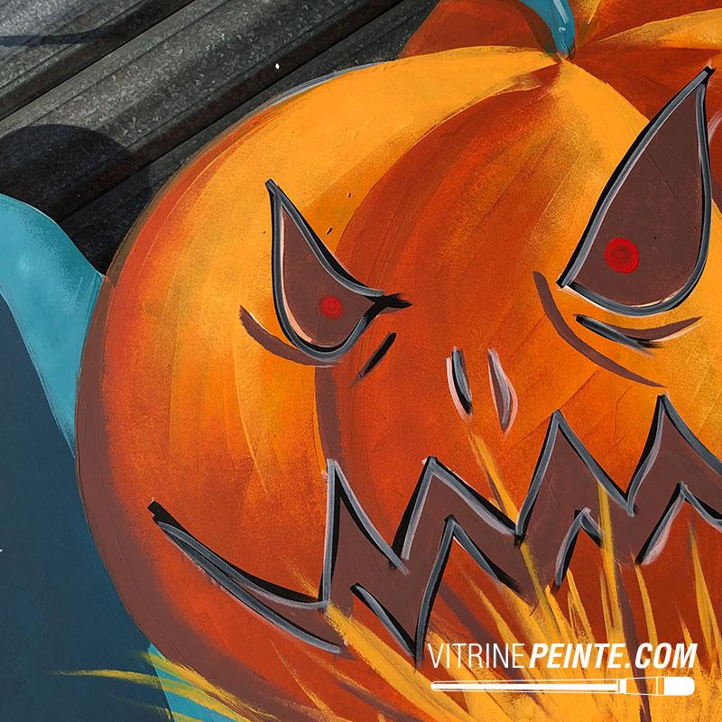 idée décoration citrouille halloween peinture vitrine pizzaria