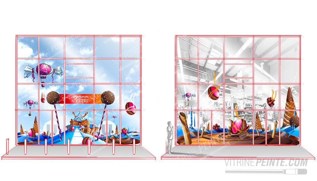 scenographie vitrine deco noël centre comemrcial
