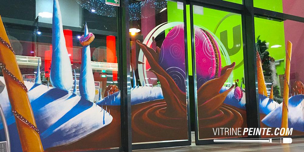 Vitrine peinture Décor Noel Centre commerciale
