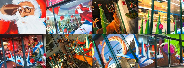 Décoration & Vitrine de Noël : Peinture sur vitrine : Centre commercial, Boulangerie, Boucherie, Hypermarché, Municipalité...