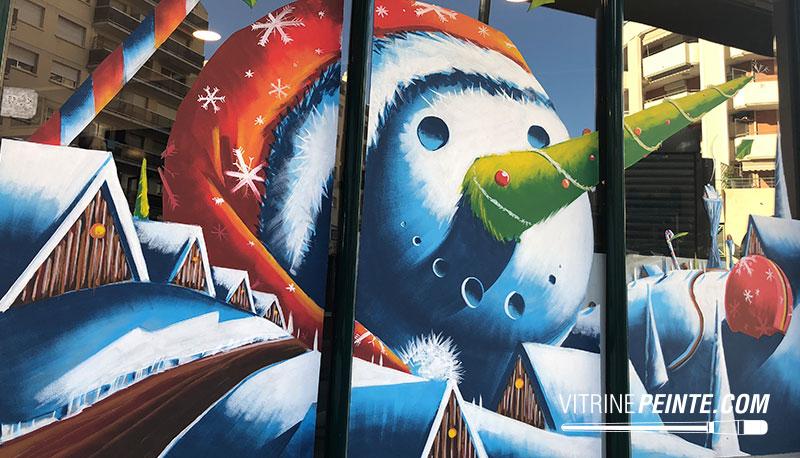 deco virine boulangerie bonhomme de neige géant hiver centre commercial