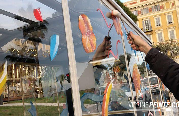 peinture sur vitre carnaval de nice vitrine magasin petits trains 100% electriques