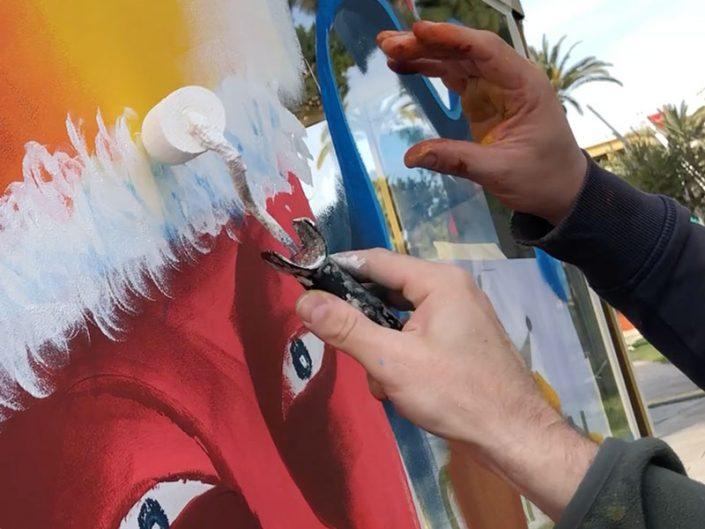 making-of artiste peinture sur vitre dessin verre