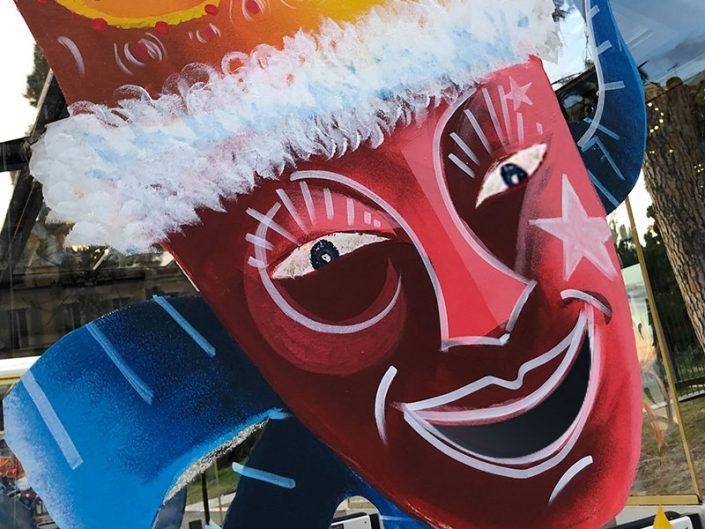 dessin sur vitre masque carnavale