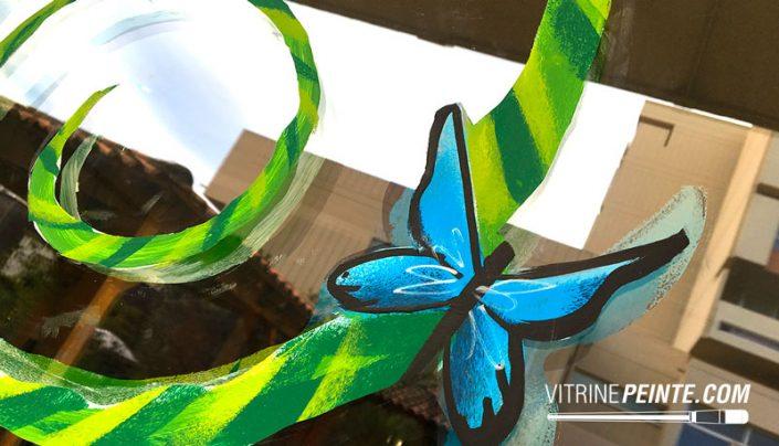 decoration vitre printemps papillon