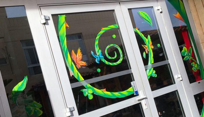 decoration vitre printemps st patrick