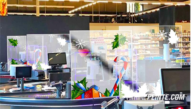 NOEL Décoration Protection plexiglas sanitaire caisse centre commercial