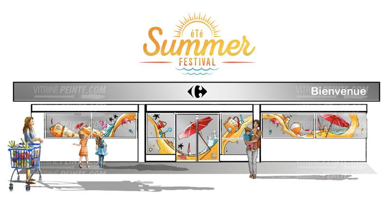 decoration vitrine d'été peinture deco plage f-estivale summer scenographie dessin rough